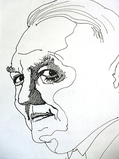Pen and ink portrait by Richard Tuvey (Note the fluidity of line, the minimal shading and the use of negative space)