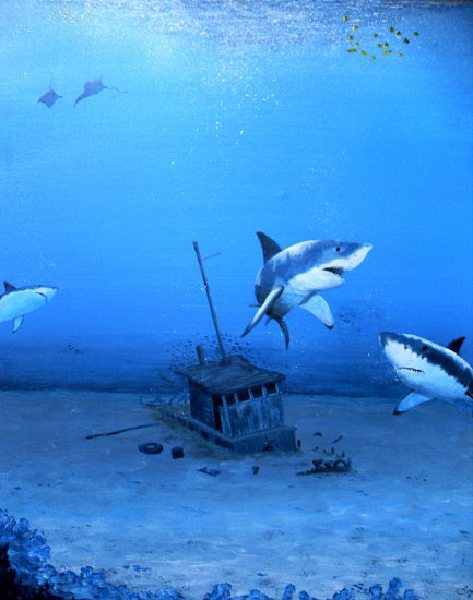 Shark Painting by Alan Minshull