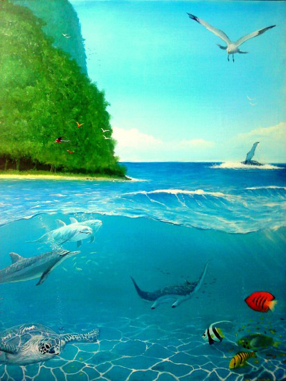 Tropical Ocean Painting by Alan Minshull
