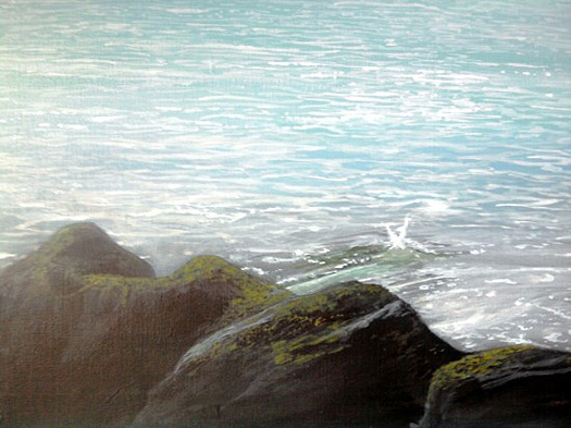 Close-up of Alan's painting, showing the detail in the rocks and water
