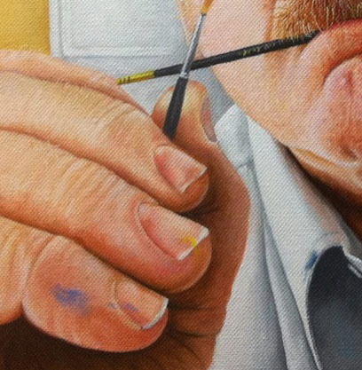 Close-up of Mike Ivey's self portrait oil painting, showing his meticulous attention to detail.