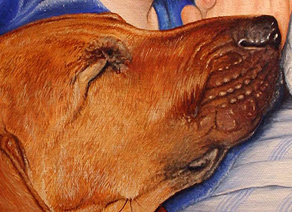 Close-up of Mike Ivey's oil painting portrait, Bedtime Prayers, showing the detail in the dog's fur.