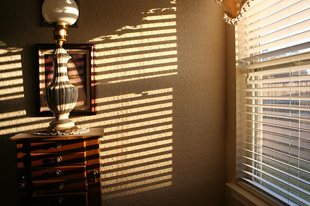 This is a photo Mike took at home of the lights filtering through the blinds.