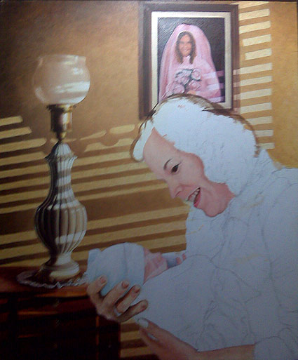 Mike starts filling in the skin tones on his wife and grandchild.