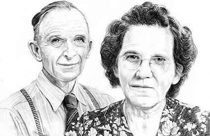"11"" x 14"" pencil drawing of Mike's grandparents on their 50th wedding anniversary."