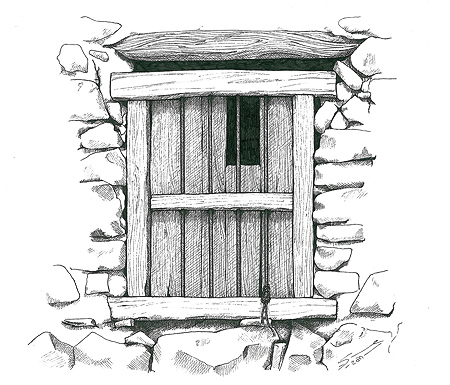 A Saiq window. Pen & ink 260x 260 mm. © Sue Pownall 2011 Click on the image above to view a larger version showing more detail.