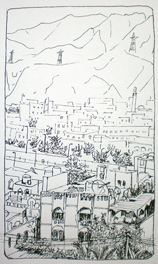 Ink sketch of Al Khuwair, drawn on-site by Sue Pownall