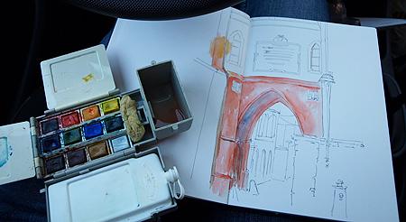 Adding colour to the line sketch