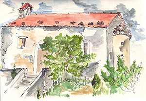 Coloured sketch of Italian church on hill, by Sue Pownall
