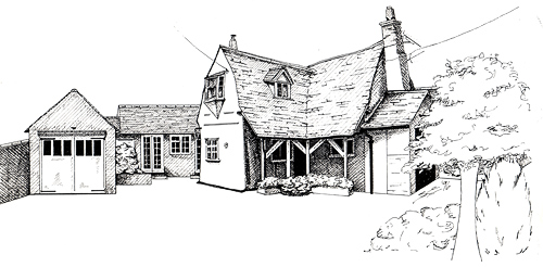 Feering Manor. 295x210 pen & ink. © Sue Pownall Click on the image above to view a larger version of the pen and ink artwork showing more detail.