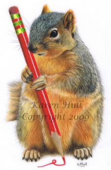 Cute Squirrel Drawing by Karen Hull