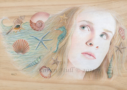 Colored Pencil Portrait on Wood
