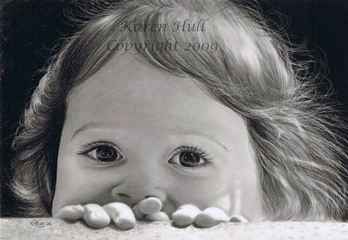 Realistic Portrait Drawing by Karen Hull