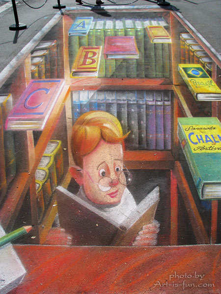 3D pavement chalk drawing by Eduardo Kobra of Brazil at the Sarasota Chalk Festival