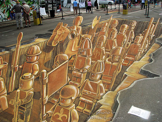Lego Army by Leon Keer at the Sarasota Chalk Festival 2011