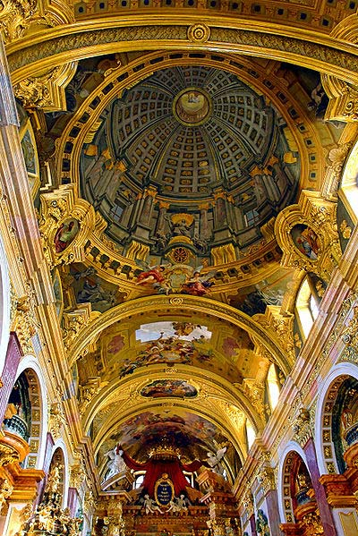 Anamorphic perspective painting on a church ceiling, by Andrea Pozzo. (photo courtesy Alberto Fernandez via Wikimedia Commons)