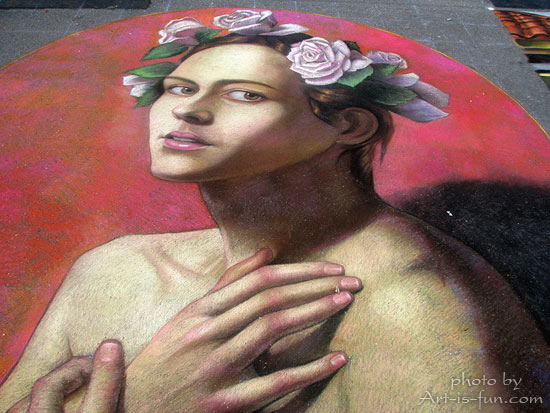 Chalk drawing by Cuong Nguyen at Sarasota Chalk Festival
