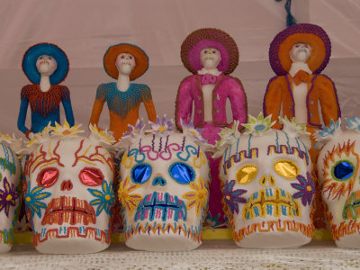 Mexican Decorated Skulls Sugar Skull Decorations For