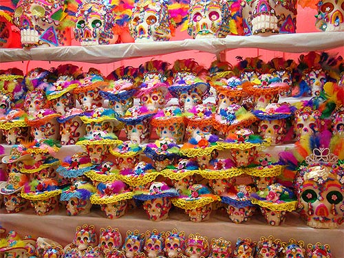 Rows and rows of Mexican sugar skulls at the Feria del Alfeñique Photo Credit: Jorge Nava