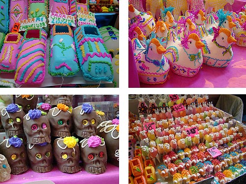 Some of the many different candies available at the Feria de Alfeñique, such as sugar coffins, chocolate skulls, and sugar animals. Photo credits: Jorge Nava