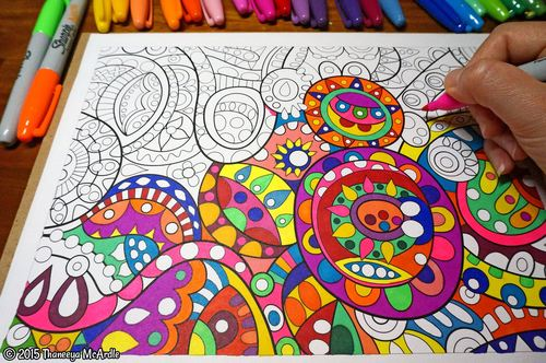 abstract coloring page by thaneeya - Cool Coloring Books For Adults