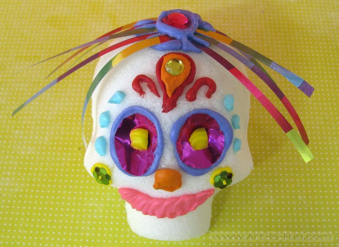 Cute Sugar Skull with Ribbon Hair