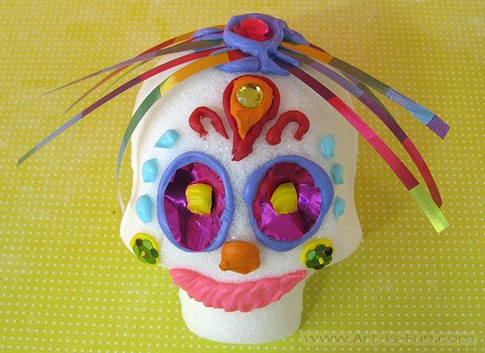 Cute Sugar Skull with Ribbon Hair