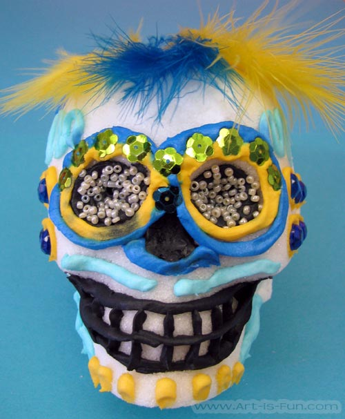 Sugar Skull with Feather Hair