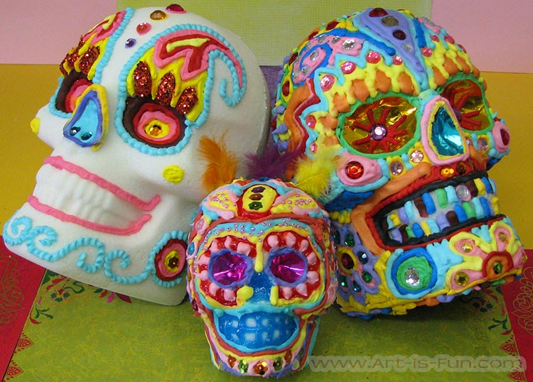 Colorful Life-Size Sugar Skulls