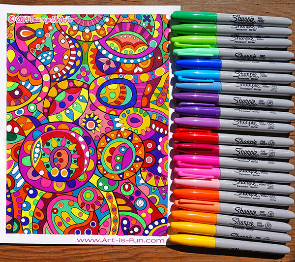 a coloring page done entirely with sharpies click to enlarge
