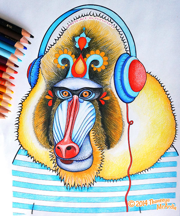 this mandrill was colored with prismacolor colored pencils click to enlarge
