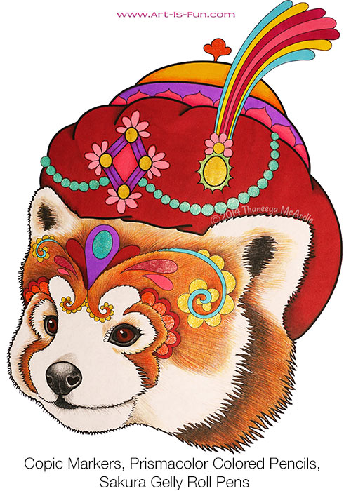 Cute Panda Coloring Page from the Dapper Animals Coloring Book by Thaneeya McArdle