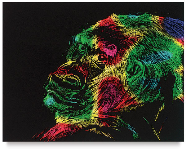Gorilla Scratch Art