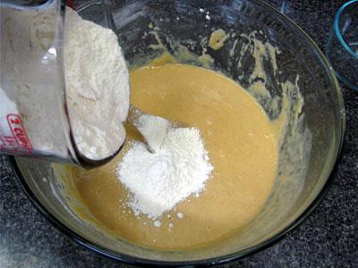 Adding Flour for Pan de Muerto