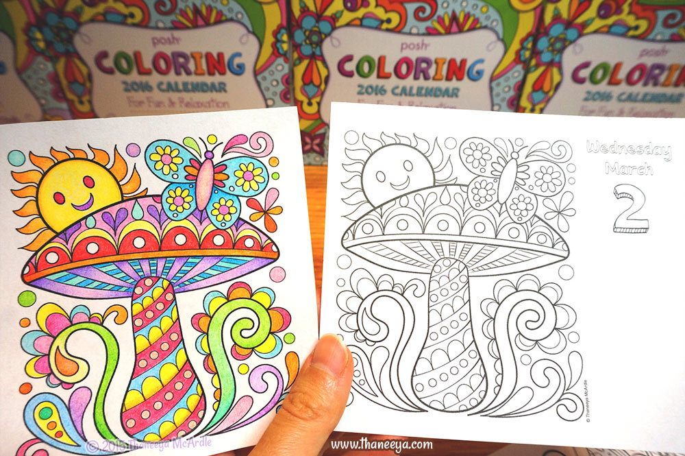 free coloring calendar mushroom page by thaneeya mcardle - Free Coloring Books