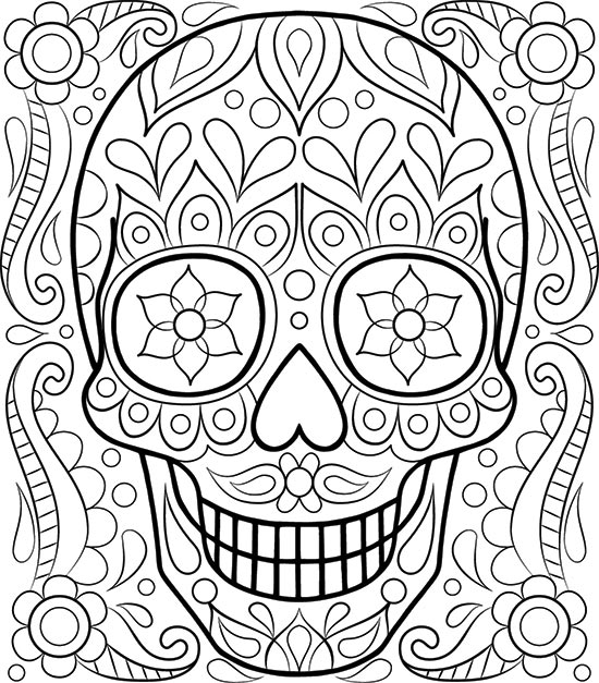 Free Sugar Skull Coloring Page: Printable Day of the Dead ...