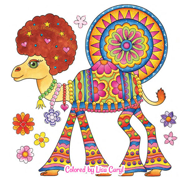 Free Hippie Camel Coloring Page Colored Version