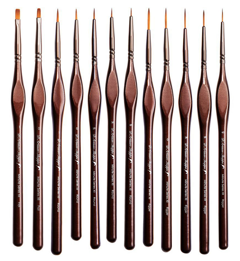 Miniature Paintbrushes for Watercolors and Acrylics