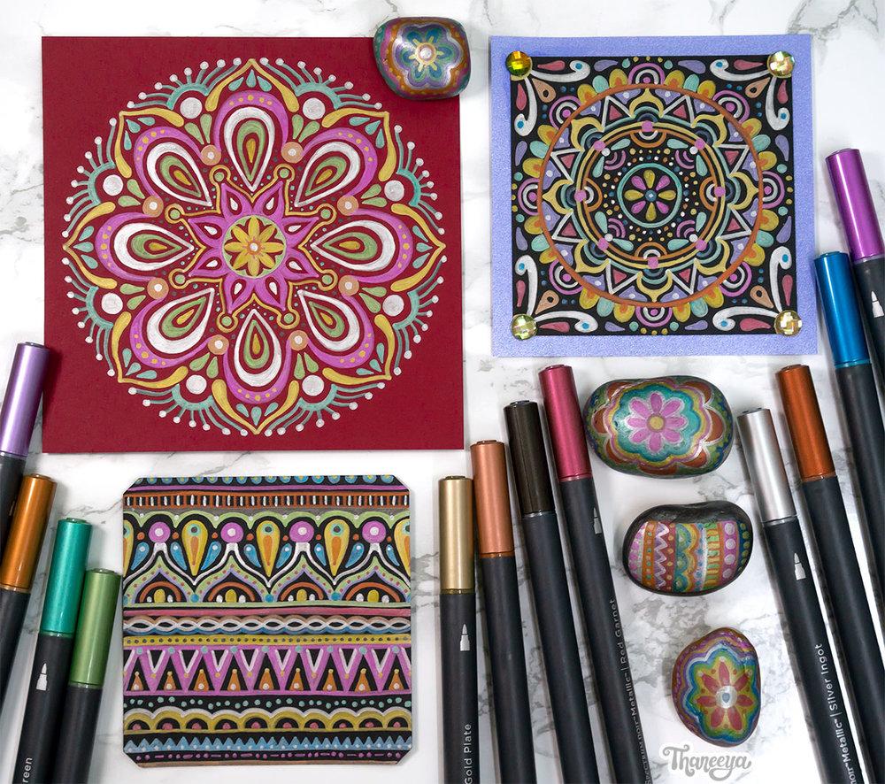 Spectrum Noir Metallic Markers Review - Art by Thaneeya