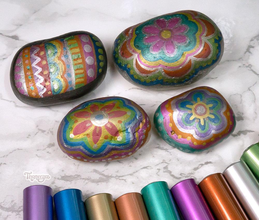 Spectrum Noir Metallic Markers on rocks, by Thaneeya McArdle