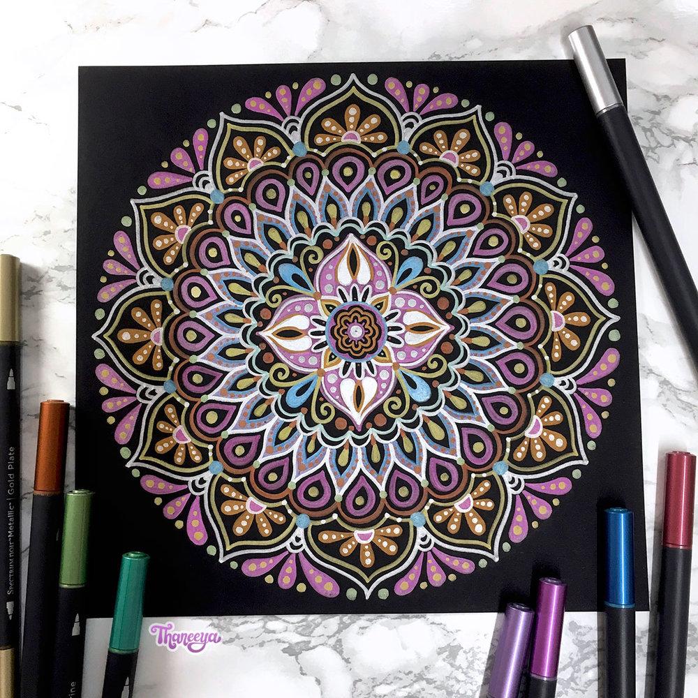 Spectrum Noir Metallic Markers Review - Mandala on Black Paper by Thaneeya McArdle