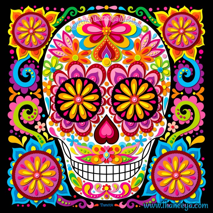 Kaleidoscopia Day of the Dead Skull by Thaneeya McArdle