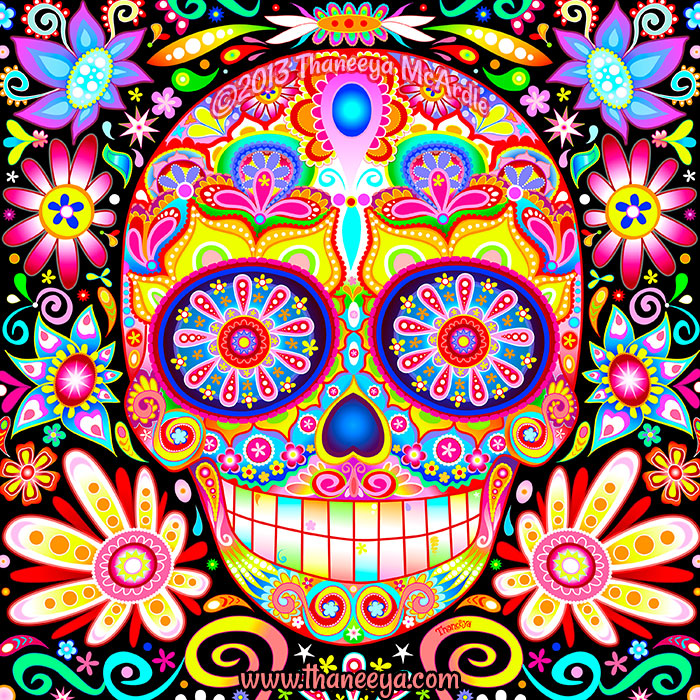 Karma Day of the Dead Sugar Skull by Thaneeya