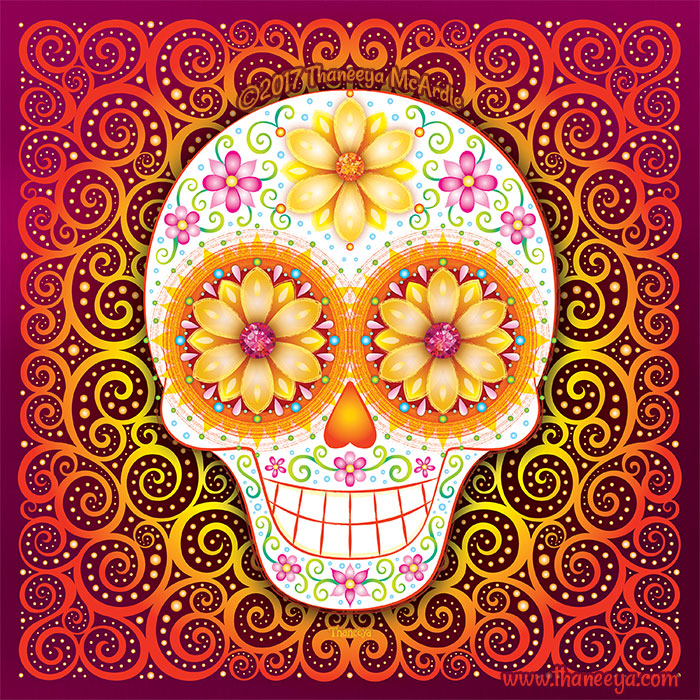 Filigree Sugar Skull Art by Thaneeya McArdle