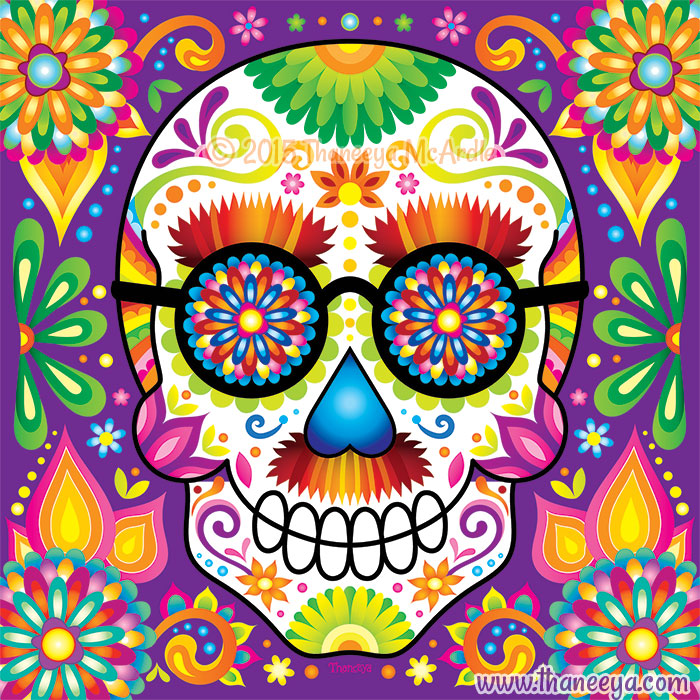Hermann Sugar Skull with Glasses by Thaneeya