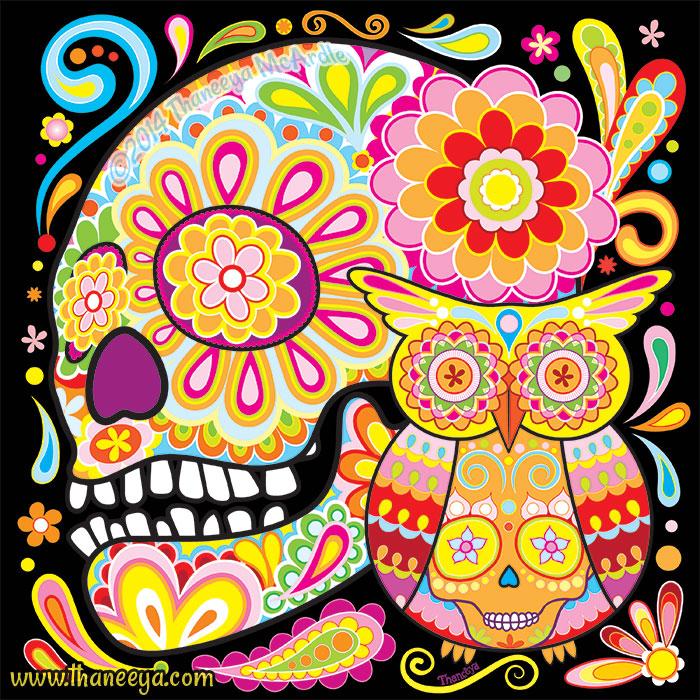 Sugar Skull Owl by Thaneeya McArdle