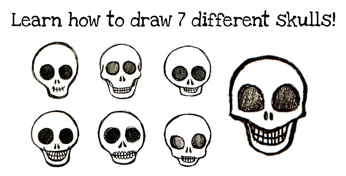 Learn how to draw seven different skulls