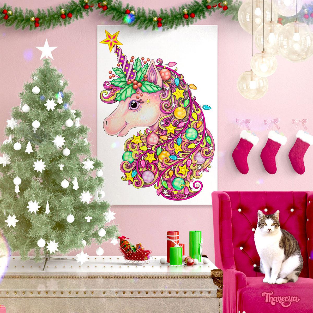 圣诞独角兽墙的艺术Thaneeya McArdle必威西蒙体育 欧盟体育