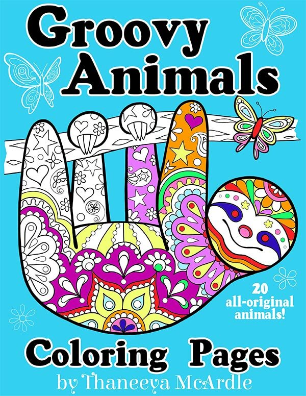 Groovy animals coloring pages art is fun for Art is fun coloring pages