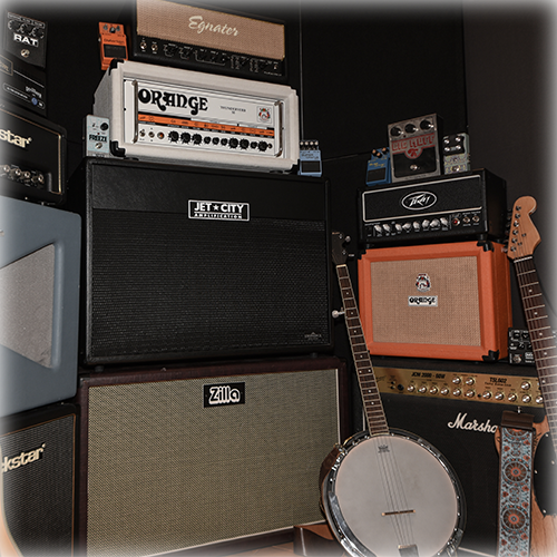 Just some of the instruments, amplifiers, and effects pedals I have available for recording artists to use.